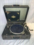 Antique Silvertone Deluxe Hand Crank Wind-up Portable Record Player 1900s-black