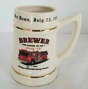 Vintage Fire Engine Co.1 Beer Stein Mounsey Ny Rare Mistake On Mug 1983 Brewer