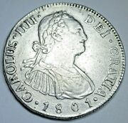 1801 Ng M Guatemala Silver 2 Reales Antique Spanish Colonial Two Bit Pirate Coin