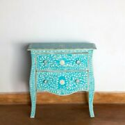 Bone Inlay Bedside Cabinet Lamp Table Blue Floral Made To Order