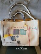 Coach X Ivory Jean-michel Basquiat 39 With Snakeskin Details 6877 Nwt