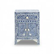 Bone Inlay Floral Bedside Cabinet Lamp Table Blue Made To Order