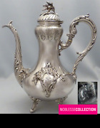 Large Antique 1880s French Sterling Silver Coffee Pot Rococo Style 270 Cm Tall