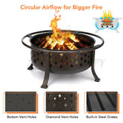 36'' Propane Fire Pit Gas Wood Firepits Fire Bowl Heater Stove W/cooking Grill