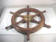 Antique 54 Inch Ships Boat Steering Wheel Wood Brass Nautical Pickup Only Ct