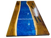 Blue Resin River Table Dining Table Top Center Hallway Table Tops