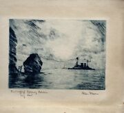 Etching Battle Ship Schleswig Holstein Before Helgoland Militaria Signed