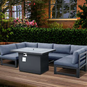 Outdoor Patio Sectional Furniture Sofa Fire Pit Table Set Dark Gray Cushion