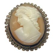 Vintage Gold Tone Carved Shell Cameo Brooch Pendant