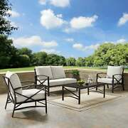 Kaplan 4 Pc Outdoor Seating Set With Oatmeal Cushion - Oatmeal 138.75 W X 72.19