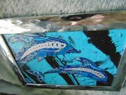 Acrylic Painting On Canvas Dolphins Gel Pen Colored Pencil Blue/silver/black