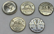 5 Coin Lot -1964 1945 1961 1968 1967 - Canadian 5 Cent Nickel Coins - Canada
