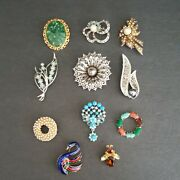 Vintage Lot 11 Gold And Silver Tone Pin Brooch And Crystals And Faux Pearls