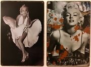 Two 8x12 Tin Signs Marilyn Monroe Hollywood Movie Star Actress Sexy Blonde Dress