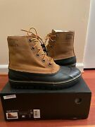 New Sorel Cheyanne Metro Lace Wp Winter Duck Boot Elk/black Menand039s Size 10