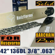 42 Inch 3/8 .063 136dl Guide Bar Saw Chain For Husqvarna 394 395 480 562 570