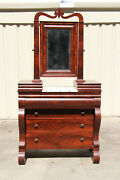 Striking Classical Empire Flame Mahogany Marble Top Chest Dresser Ca.1840