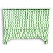 Bone Inlay Chest Of 4 Drawers Green Chevron Zigzag Made To Order