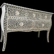 Bone Inlay Chest Of Drawer Black White Floral Pattern Made To Order