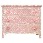 Bone Inlay Chest Of 3 Drawers Pink Mother Of Pearl Made To Order