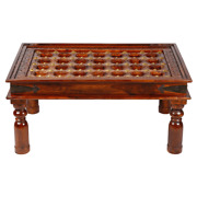 Mogra Antique Brass Work Coffee Table With Brass Work And Glass Top 60x90x40