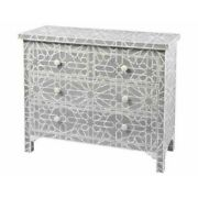 Bone Inlay Chest Of Drawer Grey Geometric Made To Order