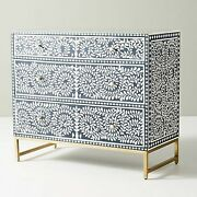 Bone Inlay Chest Of Drawer Blue White Floral Pattern Made To Order