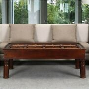 Traditional Handcrafted Brass And Mango Wood Coffee Table 150x90x45