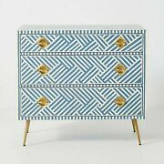 Bone Inlay Chest Of Drawer Blue White Geometric Made To Order