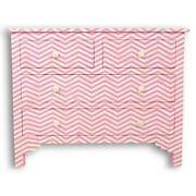 Bone Inlay Chest Of 4 Drawers Pink Chevron Zigzag Made To Order