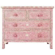 Bone Inlay Chest Of 4 Drawers Dresser Pink Floral Made To Order