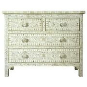 Bone Inlay Chest Of 4 Drawers Dresser White Floral Made To Order