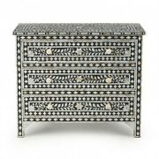 Bone Inlay Black Floral Chest Of 3 Drawers Dresser Made To Order