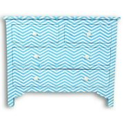 Bone Inlay Chest Of 4 Drawers Blue Chevron Zigzag Made To Order