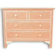 Bone Inlay Chest Of 4 Drawers Dresser Orange Fish Scale Made To Order