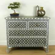 Bone Inlay Chest Of 4 Drawers Black Mother Of Pearl Made To Order