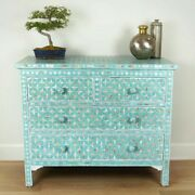 Bone Inlay Chest Of 4 Drawers Blue Mother Of Pearl Made To Order