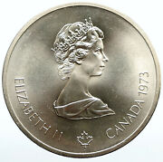 1973 Canada Queen Elizabeth Ii Olympics Montreal World Map Silver 10 Coin I94445