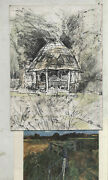 Olwyn Bowey R.a Sketch Of Garden Signed Christmas Card 8 X 6ins With Signed P/c