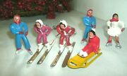 6 Vintage Lead Barclay Christmas Village Figures, Skaters, Sled And Rider, Skiers