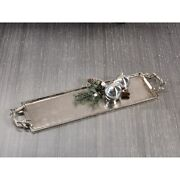 28 Long Aluminum Tray With Antler Handles, Nickel Plated Silver