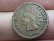 1888 Indian Head Cent Penny- Xf Details, 1.5 Diamonds