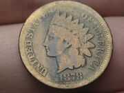 1878 Indian Head Cent Penny- Vg Details