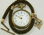Antique Gold Filled Dan Patch Stop Watch Chronograph And Hair Chain W Us Army Fob