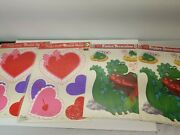 4-vintage 90's Color-clings Static Cling Window Decorations Valentine's Day New