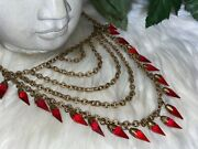 Miriam Haskell Red Drippy Holiday Collection Cleopatra Style Bib Necklace B13