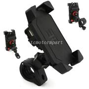 Black Motorcycle Bike Cell Phone Holder W/usb Charger For Harley Road King Glide