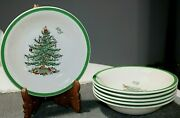 6 Spode 8 1/4 Salad Pasta Bowls - Christmas Tree Pattern - Great Condition