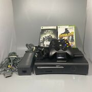 Xbox 360 Elite Black Console Bundle 2 Controllers W/charger Av Kinect 2 Games