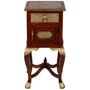 Embossed Antique Brass Work Solid Wood Stool Bedside Table Side Made To Order